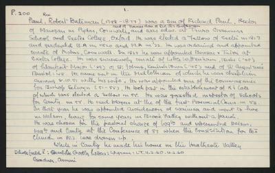 Macdonald Dictionary Record: Robert Bateman Paul; 1952-1964;