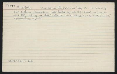 Macdonald Dictionary Record: John Price