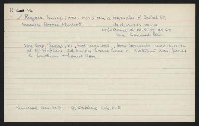 Macdonald Dictionary Record: Henry Rayner