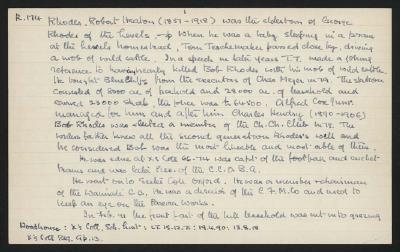 Macdonald Dictionary Record: Robert Heaton Rhodes (1857-1918)