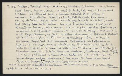 Macdonald Dictionary Record: Samuel Hurst Seager; 1952-1964;