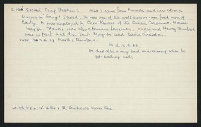 Macdonald Dictionary Record: Guy Stephen Secord