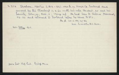 Macdonald Dictionary Record: Matin Sheehan