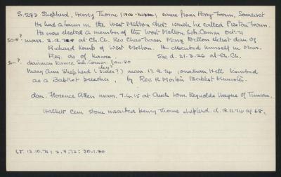 Macdonald Dictionary Record: Henry Thorne Shepherd