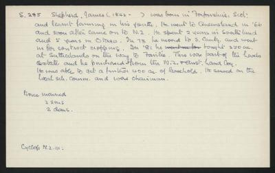 Macdonald Dictionary Record: James Shepherd