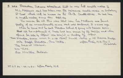 Macdonald Dictionary Record: Thomas Sheridan