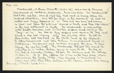 Macdonald Dictionary Record: William Kenneth Macdonald; 1952-1964;