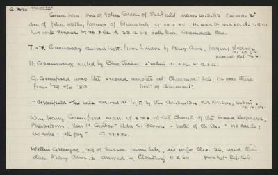 Macdonald Dictionary Record: William Green, J  & F Greenaway, H Greenaway, G Greenfield,  Greenfield, William Henry Greenfield, W Greengoe; 1952-1964;