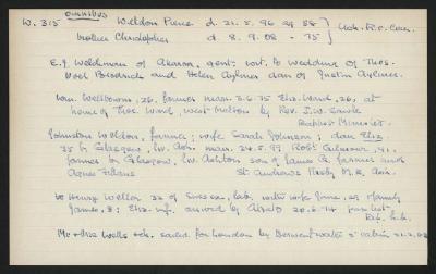 Macdonald Dictionary Record: E J Welchman, Pierce Weldon, Johnston Weldon, William Wellbourn, Henry Weller,  Wells; 1952-1964;