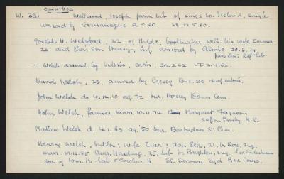 Macdonald Dictionary Record: Joseph Wellwood, Joseph H Welsford,  Welsh, David Welsh, John Welsh, John Welsh, Mathew Welsh, Henry Welsh; 1952-1964;
