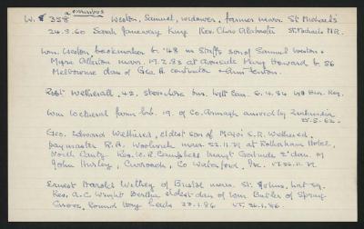 Macdonald Dictionary Record: Samuel Weston, William Weston, Robert Wetherall, William Wetherall, George Edward Wethered, Ernest Harold Wethey; 1952-1964;