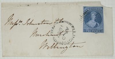 Envelope: New Zealand Two Pence Stamp Attached