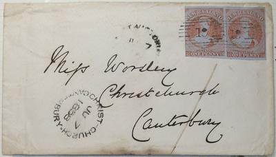 Envelope: New Zealand One Penny Stamps Attached
