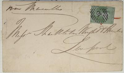 Envelope: New Zealand One Shilling Stamp Attached