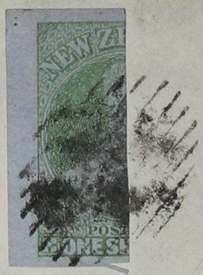 Stamp: New Zealand One Shilling (Bisected)