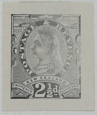 Proof of Stamp: New Zealand Two and a Half Pence