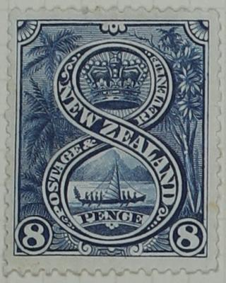 Stamp: New Zealand Eight Pence