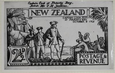Print: New Zealand Two and a Half Pence Stamp