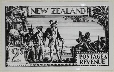 Print: New Zealand Two Shilling Stamp