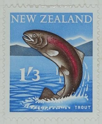 Stamp: New Zealand One Shilling and Three Pence