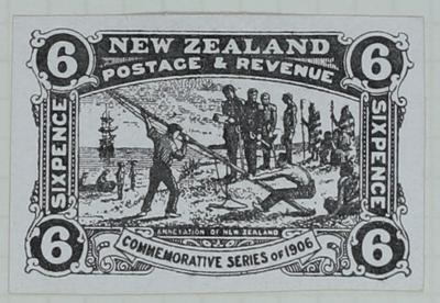 Proof: New Zealand Six Pence Stamp
