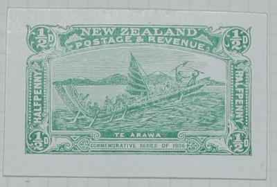 Proof: New Zealand Half Penny Stamp