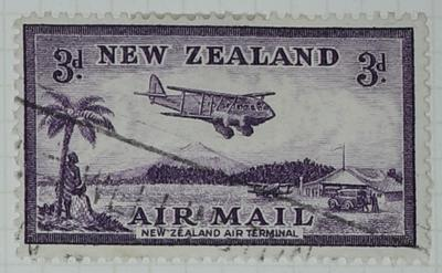 Stamp: New Zealand Air Mail Three Pence