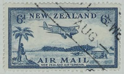 Stamp: New Zealand Air Mail Six Pence