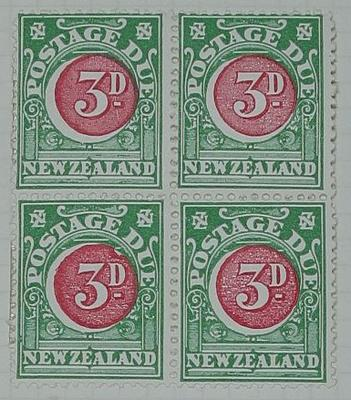 Stamps: New Zealand Three Pence Postage Due