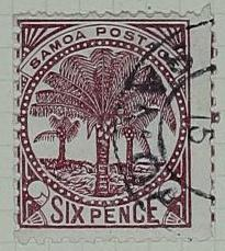 Stamp: Samoan Six Pence