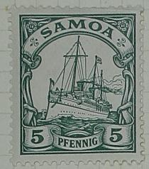 Stamp: Samoan Five Pfennig