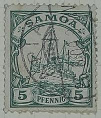 Stamp: Samoan Five Pfennig