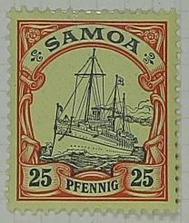 Stamp: Samoan Twenty-Five Pfennig