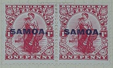 Stamps: New Zealand - Samoa One Penny