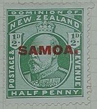 Stamp: New Zealand - Samoa Half Penny