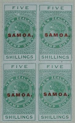 Stamps: New Zealand - Samoa Five Shillings