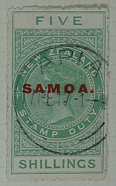 Stamp: New Zealand - Samoa Five Shillings
