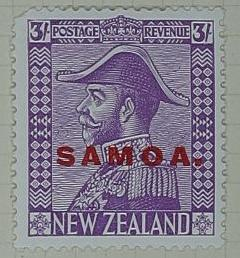 Stamp: New Zealand - Samoa Three Shillings