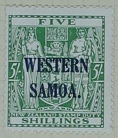 Stamp: New Zealand - Western Samoa Five Shillings
