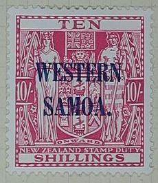 Stamp: New Zealand - Western Samoa Ten Shillings