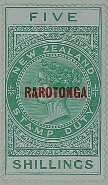 Stamp: New Zealand - Rarotonga Five Shillings