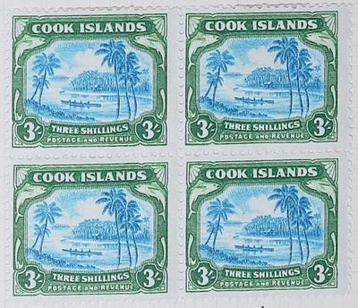 Stamps: Cook Islands Three Shillings