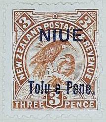 Stamp: New Zealand - Niue Three Pence