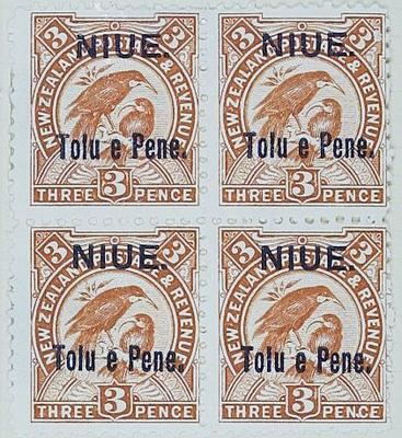 Stamps: New Zealand - Niue Three Pence