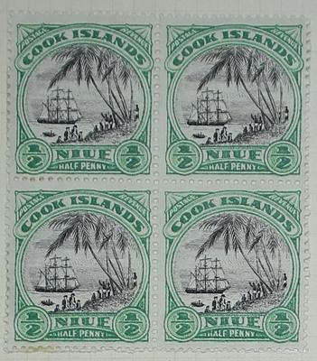 Stamps: Niue and Cook Islands Half Penny