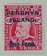 Stamp: New Zealand - Penrhyn Island Six Pence