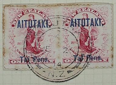 Stamps: New Zealand - Aitutaki One Penny