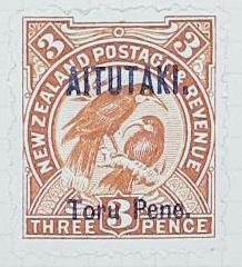 Stamp: New Zealand - Aitutaki Three Pence