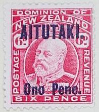 Stamp: New Zealand - Aitutaki Six Pence
