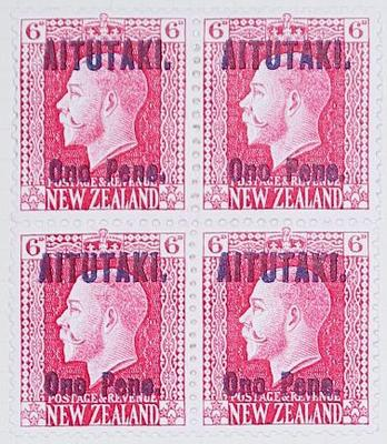 Stamps: New Zealand - Aitutaki Six Pence